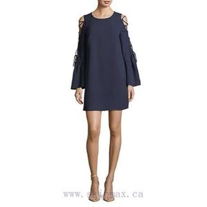 🖤 WAYF Navy Lace-up Minidress w/ Bell Sleeves